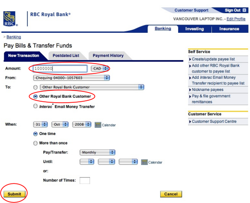 receiving wire transfer royal bank of canada